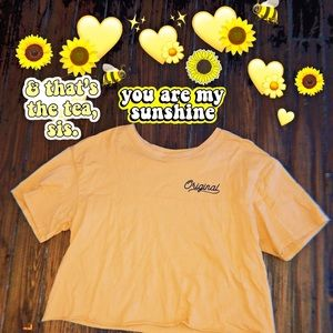 mustard yellow crop top - large (cold crush) 💛🌻